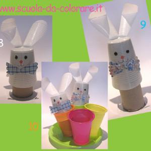 lavoretto di Pasqua – i 4 coniglietti nei bicchieri