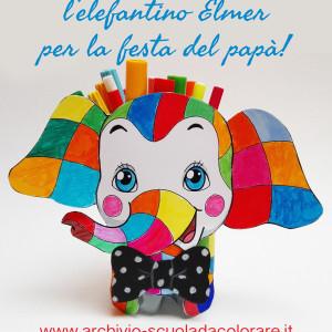 Elefantino Elmer arcobaleno – portapenne per la Festa del papà